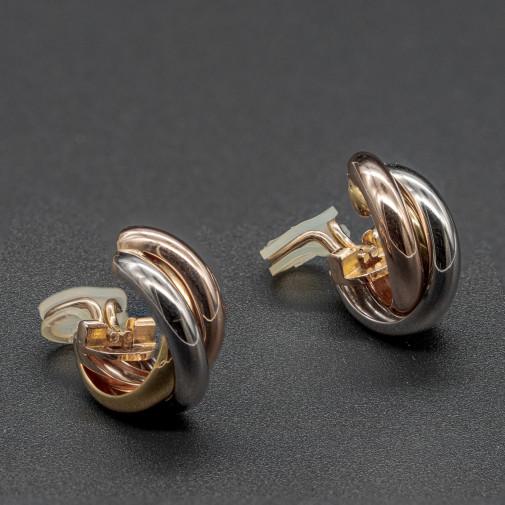 Pair of  earring clips Trinity 3 golds Medium Model