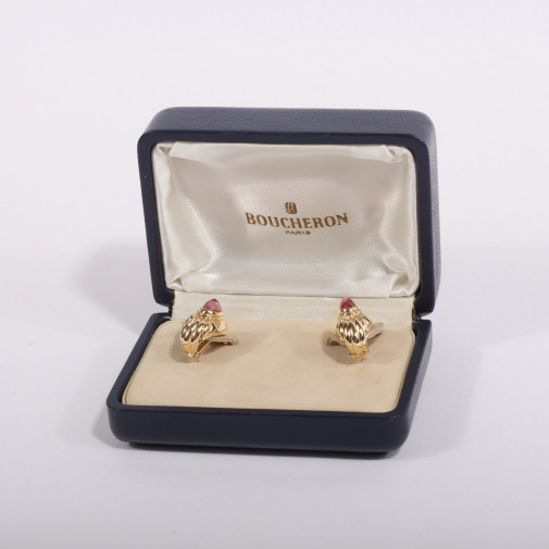 Pair of ear clips Diablotine yellow gold 18k and Tourmaline stone