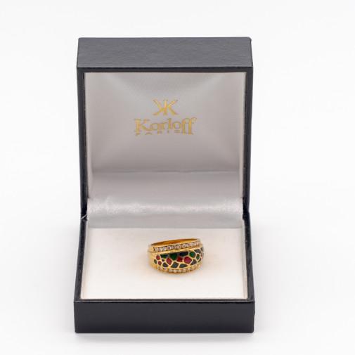 Ring 18k yellow gold 24 diamonds and enamel