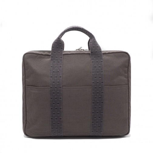 Briefcase and computer bag in gray canvas