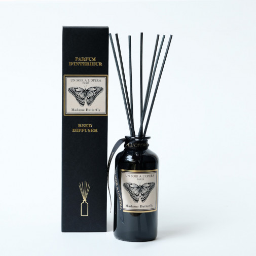 Home reed diffuser Madame Butterfly with natural rattan sticks (Sold in sets of two diffusers)