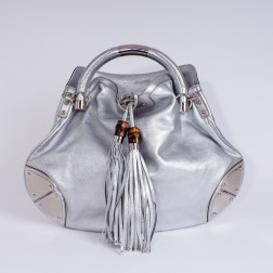 Handbag Indy silver lamé leather