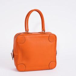 Handbag Omnibus grained pumpkin leather