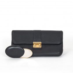 Clutch Slim Sofia Coppola in smooth black calfskin Large Model