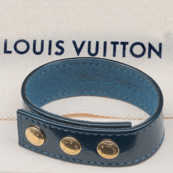 Euro 2002 commemorative bracelet in blue patent Damier leather.