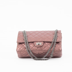 Handbag 2.55 medium sizel purple gold leather