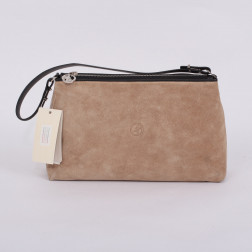 Clutch bag beige suede