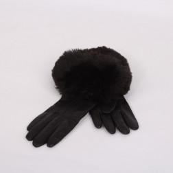 Black leather gloves size 6 1/2