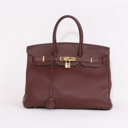 Birkin 35 handbag red brick grained leather