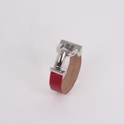 Montre Cadenas acier et bracelet croco rouge