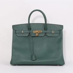 Birkin bag 40 green grained leather