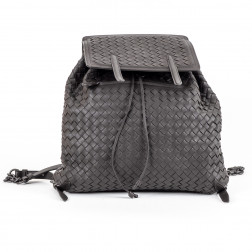 Backpack dark grey braided leather