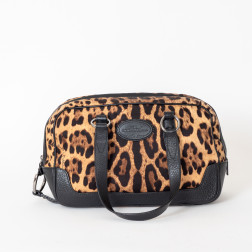Bowling bag in panther print fabric and black grained leather