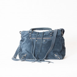 Handbag Velo deep blue suede