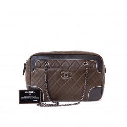 Brown and black quilted leather shopping bag