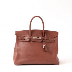 handbag Birkin 35 brown Ardennes leather silver palladium jewelry