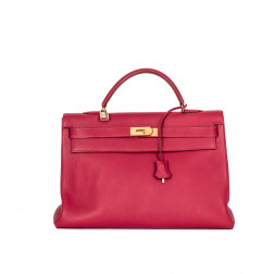Handbag Kelly 40 Clemence red leather