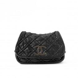 Large black lambskin shoulder bag
