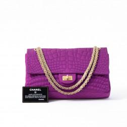 Handbag 2.55 in silk satin print crocodile fuschia