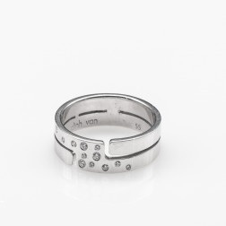 Ring Seventies Medium Model white gold 18k and diamonds