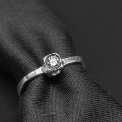 Ring Le Cube diamond and white gold 18k