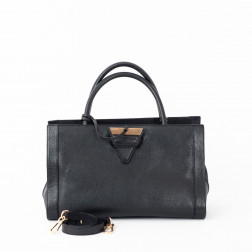 Handbag Barcelona black grained leather