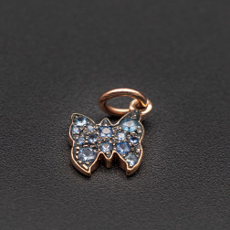 Charm DODO Rose gold butterfly set with sapphires