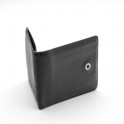 Black grained leather card and bill holder.