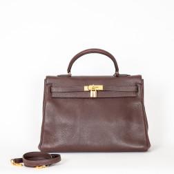 Handbag Kelly 35 Coromandel leather havana color