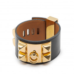 Black leather and gold plated Collier de Chien bracelet