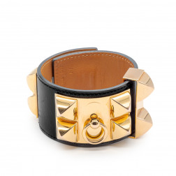 Bracelet Collier de Chien black leather and pink gold plated