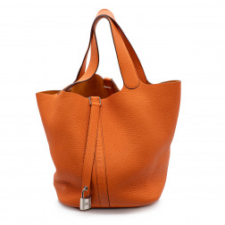 Sac Picotin 26 en cuir Clémence orange